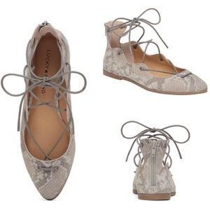 Lucky Brand Billoh Lace-up Flats in Grout Snake